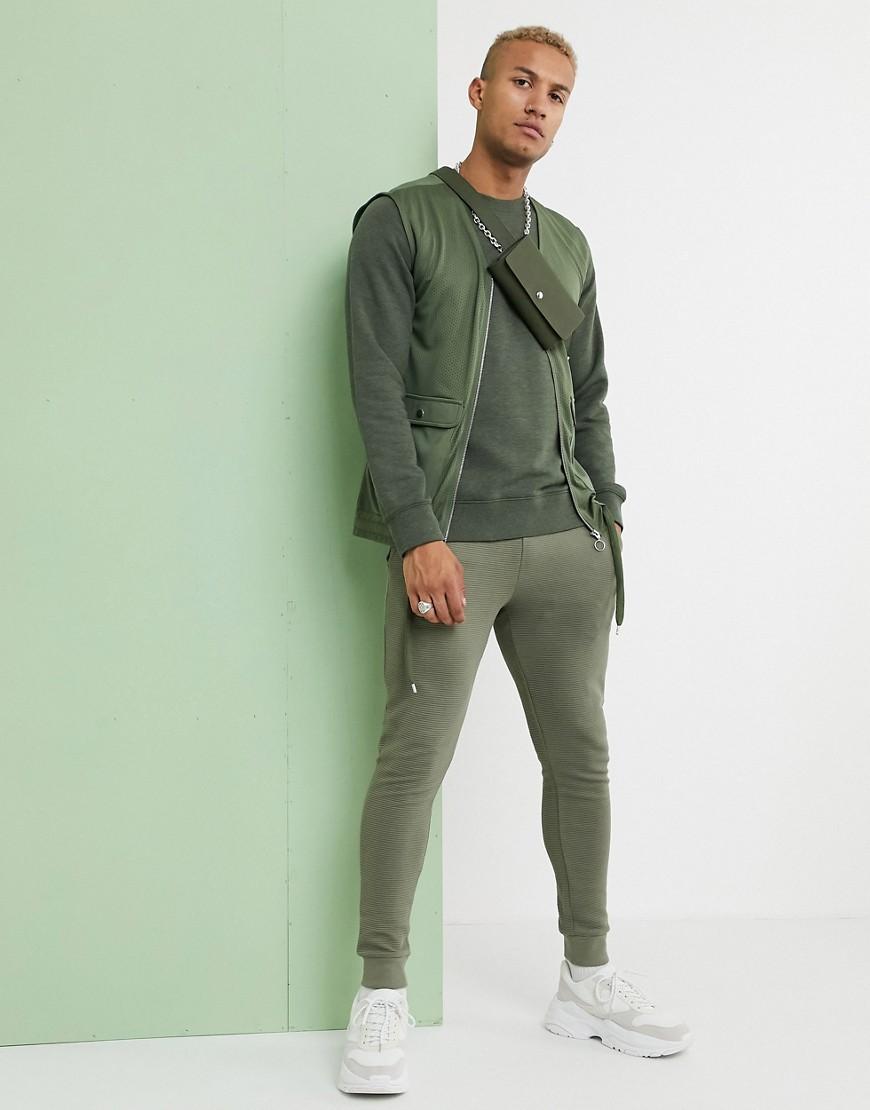 ASOS DESIGN mesh utility gilet in khaki-Green