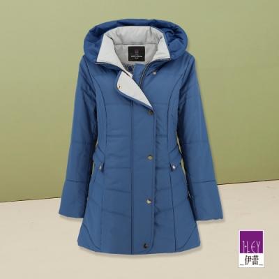 ILEY伊蕾 都會雙立領保暖鋪棉外套(藍)