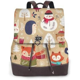 リュック レディース かわいい レザー 軽量 おしゃれ かわいい動物とクリスマスコレクションクマ、キツネ、リス、鳥、サンタクロース、雪だるまかわいい動物とクリスマスコレクションクマ、キツネ、リス、鳥、サンタクロース、雪だるま 通学 通勤 旅行 ビジネス 鞄 バッグ デイバッグ