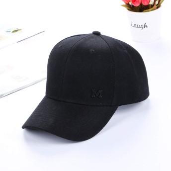LKJASDHL 韓国のバージョンの帽子ソリッドカラーの手紙M印刷女性春夏屋外野球帽男性と女性のスポーツキャップバイザー日帽子スポーツ快適な通気性 (色 : ブラック)