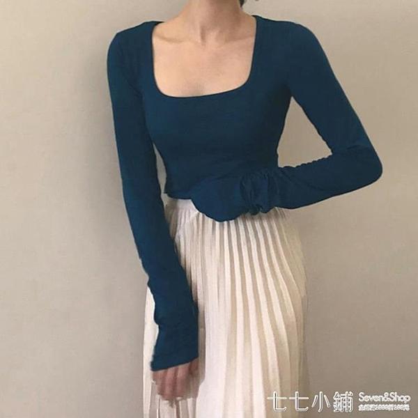 秋季2020新款韓版氣質方領長袖T恤女ins修身復古薄款打底衫上衣潮