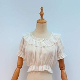 COSLOLI ロリータ半袖女性かわいいブラウス女性シフォンクロップトップ夏ヴィンテージ甘いスターパターン白/黒アンダーシャツ