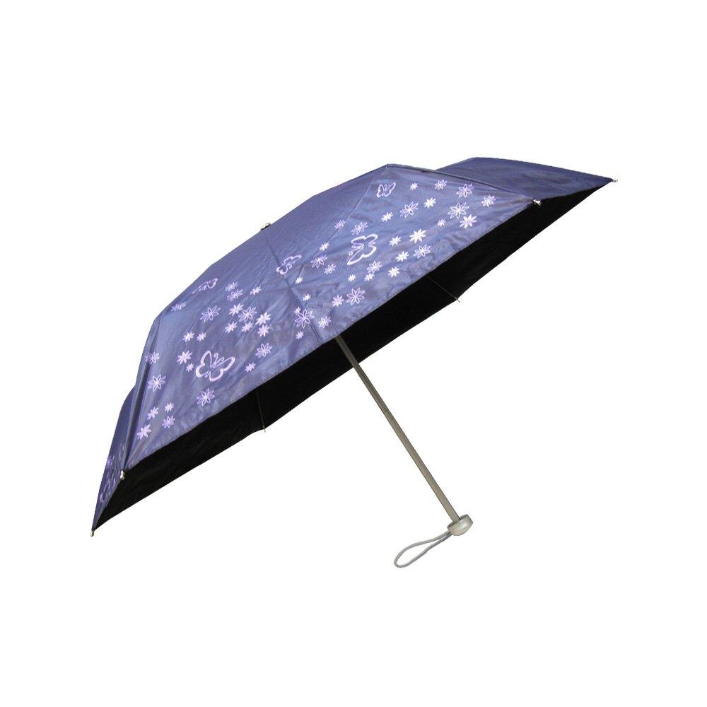 雨傘 陽傘 ☆萊登傘☆ 抗UV 易開輕便傘 防曬 黑膠 色膠三折傘 直接推開 Leotern 蝴蝶印花
