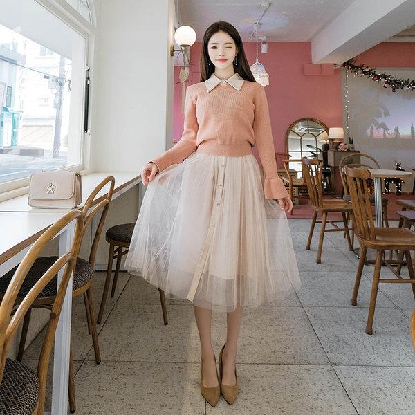 [attrangs] op6240 針織衫上衣 雪紡洋裝 上下衣著套裝