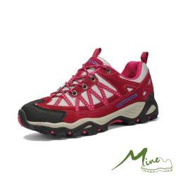 【MINE】透氣網布織帶拼接撞色時尚戶外休閒登山鞋 紅