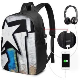 芸術 落書き バッグ 17インチ USB充電ポート付き バックパック 調節可能なショルダーストラップ アウトドアリュック 登山リュック 季節新品 多機能 通学 通勤 出張 旅行用 大容量 黒 メンズ レディース通用