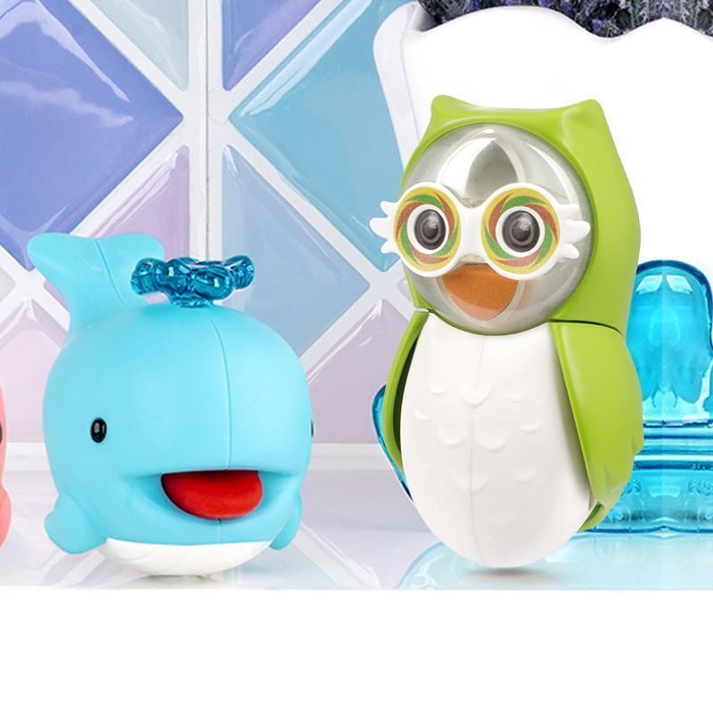 [防飛沫]專利輕觸開闔計時沙漏貓頭鷹擠牙膏組-綠貓頭鷹+藍色小鯨魚