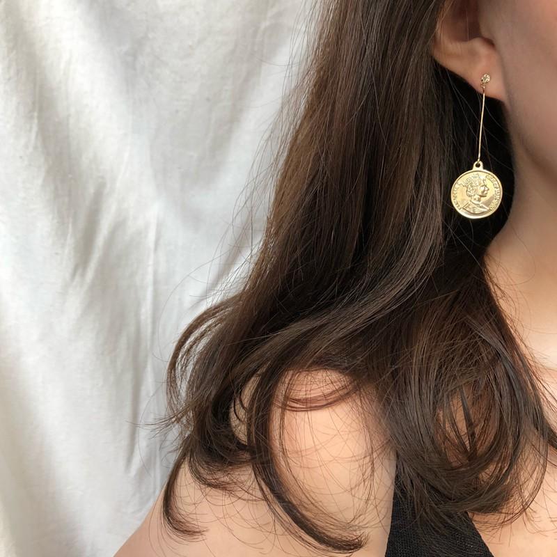 INS港風氣質耳環 韓國復古氣質耳環 硬幣耳環 长款吊墜耳環A586