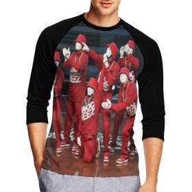 春、夏、秋、冬のメンズ七分袖、アジアの人気メンズ七分袖 ヒップホップ メンズプリントスリーブTシャツM