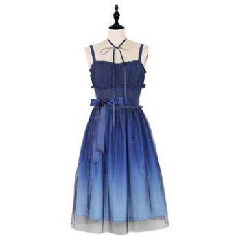 COSLOLI ロリータ女性の夏のパーティードレス星空勾配ブルーサスペンダーシフォン妖精のドレス森ガール春甘いかわいい衣装