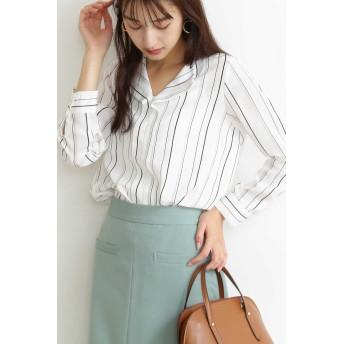 【公式/エヌ ナチュラルビューティーベーシック】ガルーダツイルシャツ/女性/ブラウス/ストライプ/サイズ:M/ポリエステル 100%