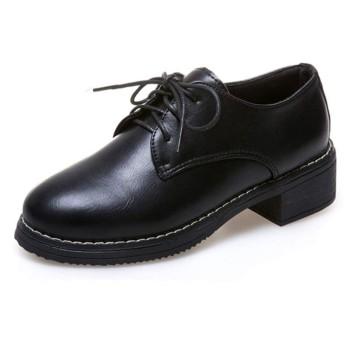 [THLD] マニッシュシューズ レースアップ ラウンドトゥ ミドルヒール 22.5cm ブラック 黒 オックスフォード 歩きやすい 痛くない 履きやすい 幅広 レディース靴 おじ靴 コスプレ 卒業式 入学式 小さいサイズ 大きいサイズ