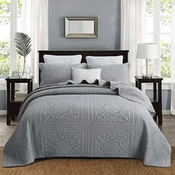 キルティングベッドカバースロー枕寝具3点セットパッチワークキルトダブル人々ベッドカバー布団枕ケース50X70CMX2掛け布団,Grey-Queen:230X250cm