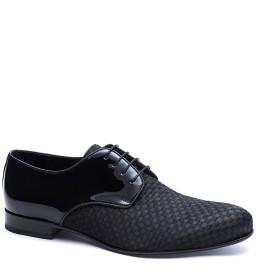 【74%OFF】エナメルレザー 切替 外羽根 ドレスシューズ 靴べら付 ブラック 44