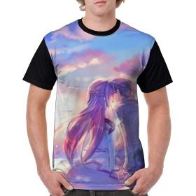ソードアート・オンライン-キリト&アスナメンズファッションポリエステル半袖シャツアニメTシャツ