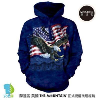 摩達客 美國The Mountain 鷹爪旗 環保藝術長袖連帽T恤