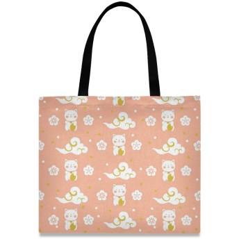 トートバッグ 学生 ハンドバッグ 手提げ キャンバス かわいい 花柄 桜 招き猫 猫柄 動物 肩掛けバッグ 大容量 レディース 軽量 通勤 通学 おしゃれ