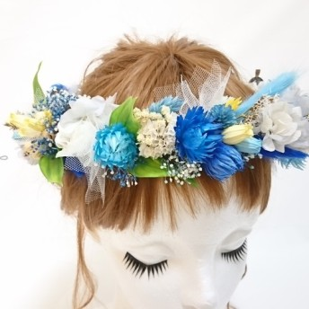 【1点もの・オーダー可】 花冠 ブルー×イエロー ヘッドドレス プリザーブドフラワー