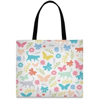 トートバッグ 学生 ハンドバッグ 手提げ キャンバス かわいい 花柄 蝶 猫柄 動物 肩掛けバッグ 大容量 レディース 軽量 通勤 通学 おしゃれ