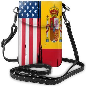 小さなクロスボディバッグアメリカスペイン国旗携帯電話財布財布軽量クロスボディハンドバッグ女性と十代の女の子のため
