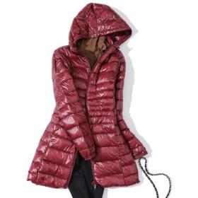 冬ロングダウンコート女性プラスサイズ超軽量暖かいパーカージャケットヴィンテージ黒秋ダックダウンコート、ブルゴーニュ、L