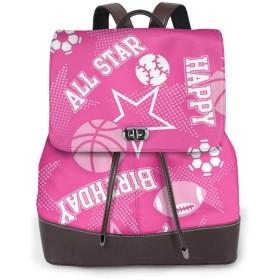 リュック レディース かわいい レザー 軽量 おしゃれ ピンクの背景にオールスターお誕生日おめでとう。 通学 通勤 旅行 ビジネス 鞄 バッグ デイバッグ