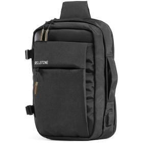 [Bellstone] ボディバッグ メンズ 防水 斜めがけ ショルダーバッグ 大容量 13インチPC A4 USB充電ポート付き BS-BG-8147 (黒)