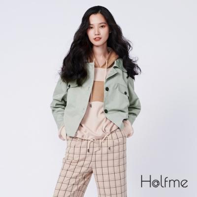 Halfme-微光面風衣質感口袋短版外套-女