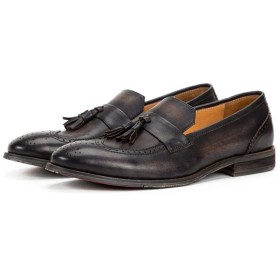 [ShiSyan] 紳士靴 ビジネスシューズ カジュアル 軽量 通気性 防水防滑 足の靴 手作り 英国 レトロ 彫ローファータッセル スタイルのカジュアルセット洛福シューズメンズ メンズ おしゃれ 出張 旅行 宴会 飲み会 パーティー 結婚式 就職面接 (Color : Black, Size : 43-EU)