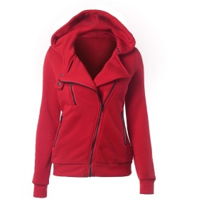 秋冬ジッパーカジュアルな女性の上着コート暖かい女性ジャケットカーディガンノースリーブジャケット、赤、S