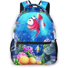 リュック 海底魚ロケットマリン, バックパック リュックサック ビジネスリュック メンズ レディース カジュアル 男女兼用 軽量 通勤 通学 旅行 鞄 バッグ カバン