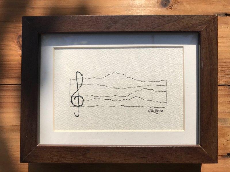 山的五線譜/手繪 插畫 簡約 裝飾 藝品 安慰劑 黑白 無限 音樂