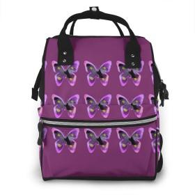 万洋 最新旅行 通勤 個性的 多機能レジャーバッグ リュック マザーズバッグ ベビー用品収納 出産準備 防水盗難防止ポケット シンプル大容量手提げ袋 かわいい 、紫蝶腰椎