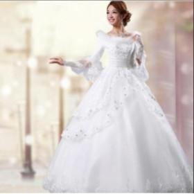 豪華 ロングドレス 謝恩会 イブニングドレス 結婚式 ウエディングドレス 礼服 高品質ドレス カラードレス 二次会ドレス[ホワイト] 花嫁