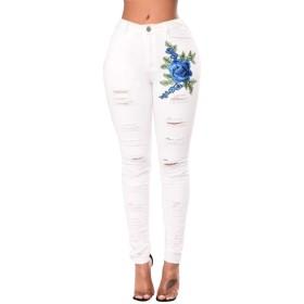 Jtydj 女性の不快なリッピング花のプリントストレッチデニムスキニーのヨガジーンズ (色 : ホワイト, サイズ : L)