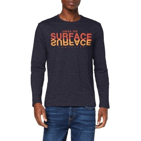 トムテーラーメンズベーシックプリントロングスリーブTシャツ、ブルー(ネイビーホワイトモックtwis 19624)、L