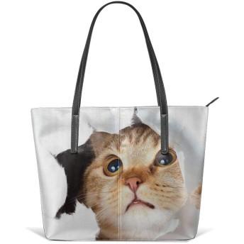 バックレディース ハンドバッグ トートバッグ ショルダー 手提げバッグ 肩掛けバッグ 通勤 通学 ファッション 黄色い猫 カバン