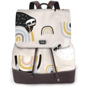 リュック レディース かわいい レザー 軽量 おしゃれ 虹の面白いナマケモノとシームレスな幼稚なパターン。 通学 通勤 旅行 ビジネス 鞄 バッグ デイバッグ