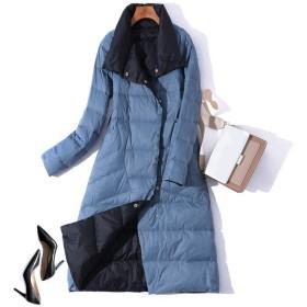 女性冬コートスタンドカラーホワイトダックダウン内側女性ライトロングジャケットコート女性コート、ブルー1、M
