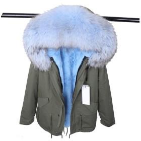 ファッション本物の襟冬の婦人服取り外し可能な厚手のジャケットショートパイクコート、28、Xxl