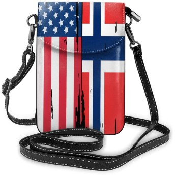 小さなクロスボディバッグアメリカノルウェー国旗携帯電話財布財布軽量旅行パスポートバッグ女性と十代の女の子
