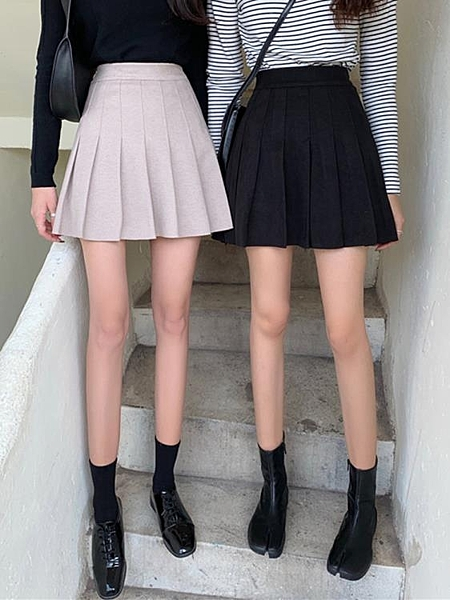 百褶裙女秋冬季毛呢半身裙黑色短裙2021新款百搭A字高腰打底裙子