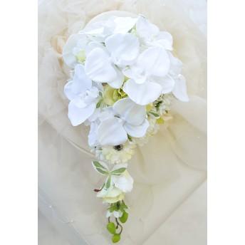 真っ白胡蝶蘭のキャスケードブーケ