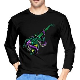 メンズ Tシャツ 長袖 丸首 秋服 シャツ カットソー Guitar Octopus ギターとタコ 薄手 軽い 柔らかい おしゃれ 快適 春夏秋冬 カジュアル 学校 野外活動 旅行 日常着