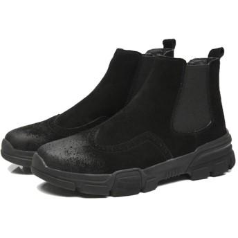 [GUREITOJP] メンズ チェルシーブーツブーツ 革靴 カジュアル サイドゴア ボア付き 防寒 柔らか ウィングチップ メダリオン 焦がし加工 軽量 手縫い 通気性 爽やか 通勤 お出かけ 日常着用 おしゃれ