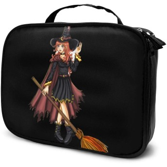 ハロウィン 魔女 5 化粧品収納メイクポーチ トラベルポーチ 化粧ポーチ ーバッグ バスルームポーチ 小物 多機能 収納 バッグインバッグ 大容量 出張 旅行グッズ,ブラック,One Size