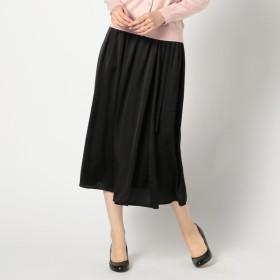 GALLORIA レディース ベルト付きラップ風スカート