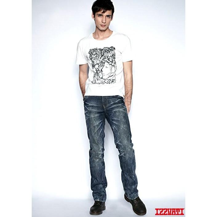 【全新】Izzvati 刺刻直筒牛仔褲-深藍L 小鬼代言