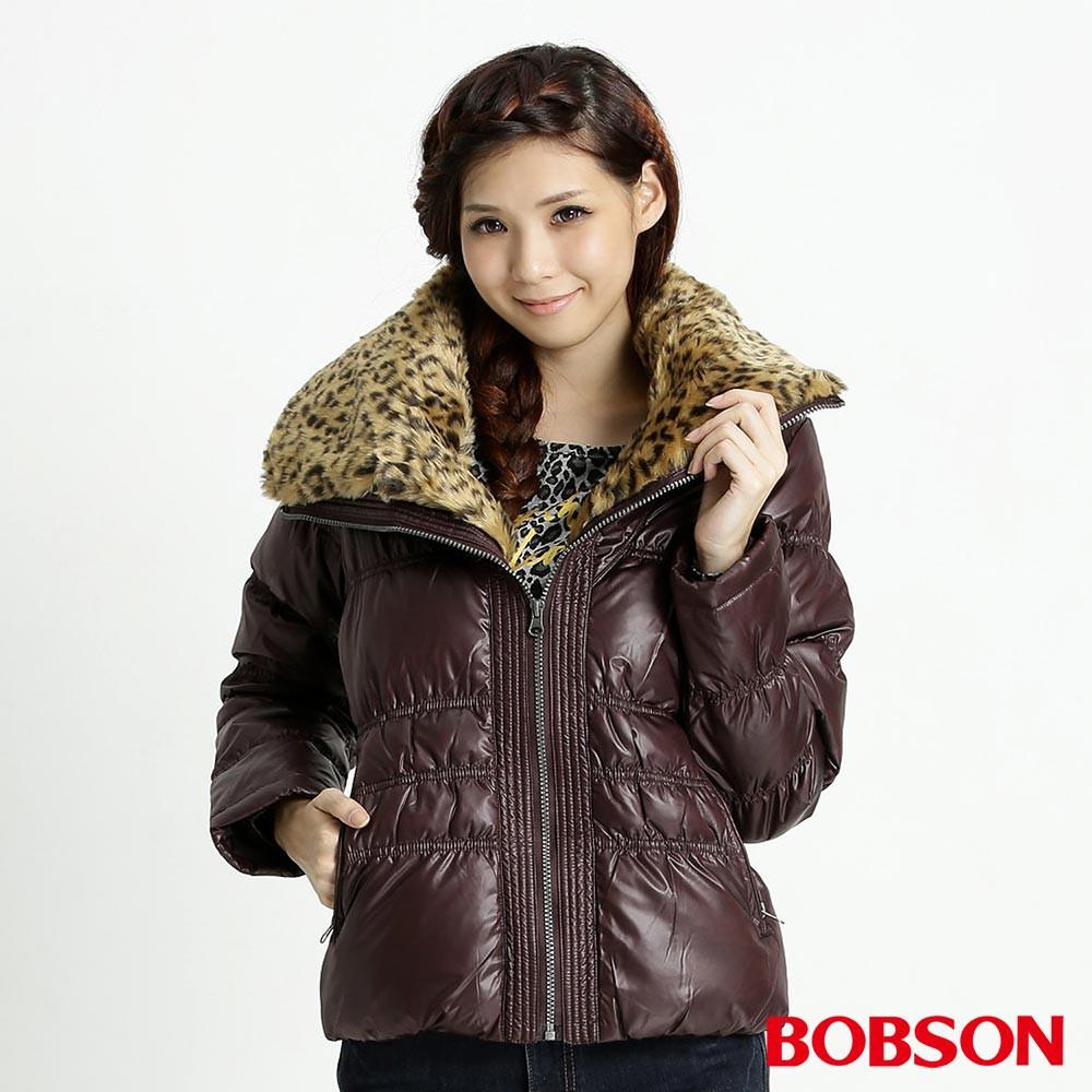 BOBSON 女款豹紋大領片羽絨外套(32099-76)