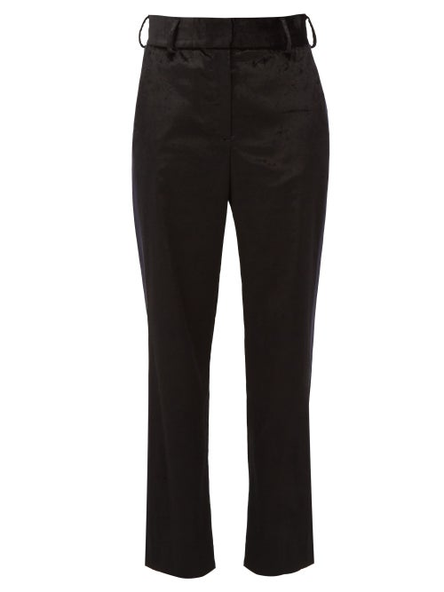 Sies Marjan - Sonya Satin-stripe Velvet Trousers - Womens - Black